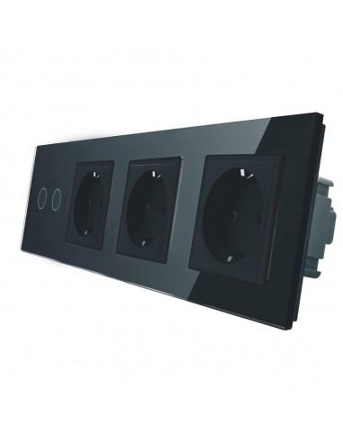 LIVOLO 3 gniazda + włącznik podwójny w jednym panelu | Czarny
